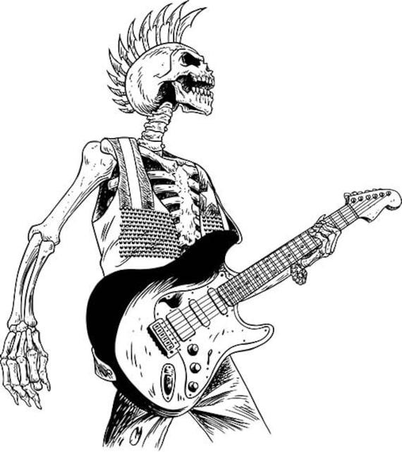 punk rock skull skeleton rock and roll hard rock thrash | Etsy