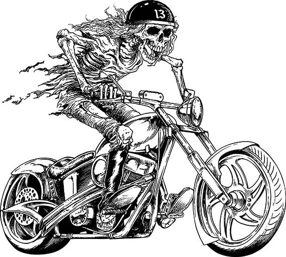 biker motorcycle chopper skull skeleton harley davidson