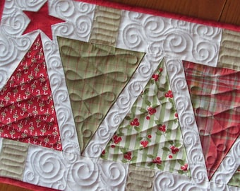 Christmas Tree Quilted Table Runner Moda Snowfall