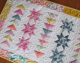 Stars, Flying Geese, Early Bird Moda Quilted Table Runner