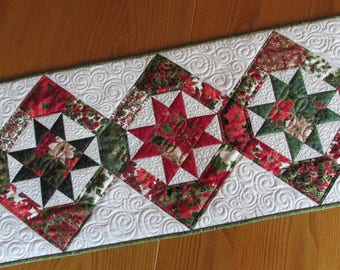 Christmas Star Quilted Table Runner Poinsettia Gold Moda Holly Night