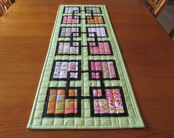 Modern Squares Quilted Table Runner Chinoiserie Chic