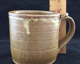 """4"""" Tall Stoneware Pottery Mug with High Fire Glaze. Holds 16 ounces of your favorite beverage."""