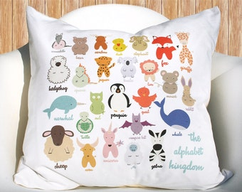 Alphabet Kingdom Animals 18 inch removable throw pillow cover case eco friendly baby children nursery gift