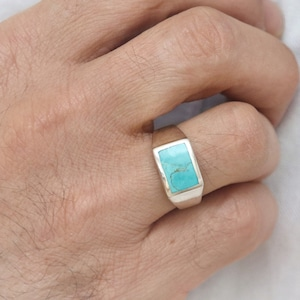 Turquoise AAA Quality 925 Sterling Silver Jewelry Men/'s Ring