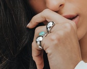 925 Silver High Dome Ring for Women, 11.5 mm Wide Thick Bubble Ring, Solid Silver Chunky Band