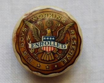 Vintage US Working Boys Reserve Stud Lapel Pin World War I Antique Celluloid