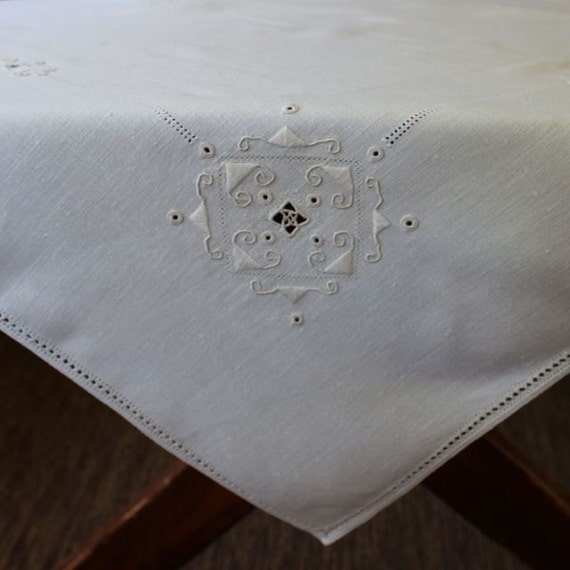 Bon Vintage Linen Tablecloth Topper Italian Lace Embroidery | Etsy