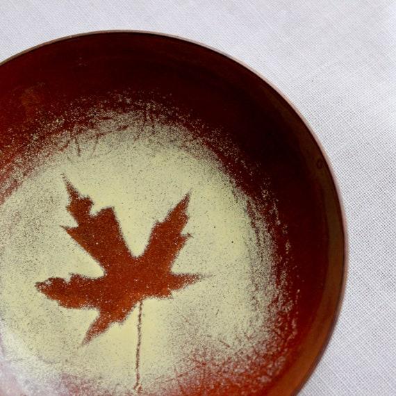 Vintage Copper Enamel Dish Bowl Tray Small Maple L