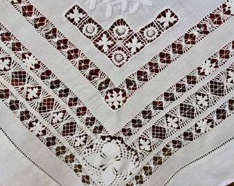 Vintage White Linen Tablecloth Topper Drawnwork Cutwork Spiderweb Tenerife Square