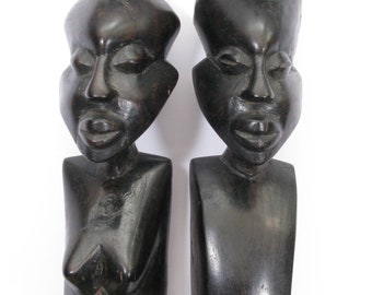 Pair of African Wooden Male and Female Sculptures  in Ebony, Hand Carved African Statues, Ebony Statues, Wall hanging Ebony Statues (404)