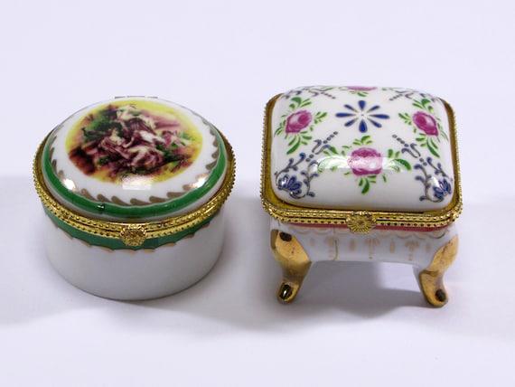 Trinket Boxes 693 Vintage Ceramic French Trinket Boxes Ring Boxes A Pair of Ceramic French Trinket Boxes Pill boxes