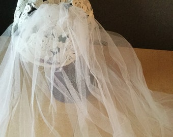 016abd479146a Beautiful lace crochet look skull cap and net veil white