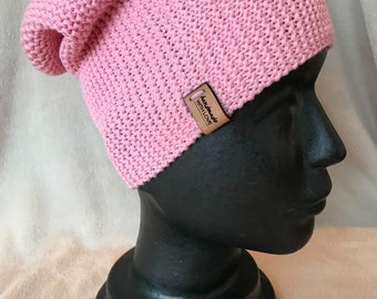 5eef3a07 Hand knitted cotton slouchy beanie hat, unisex, pink