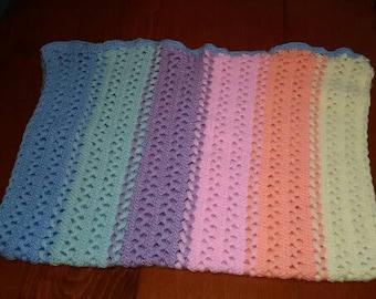 Rainbow Hairpin Lace Blanket
