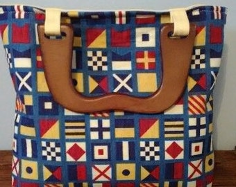 Nautical Purse with wooden handles