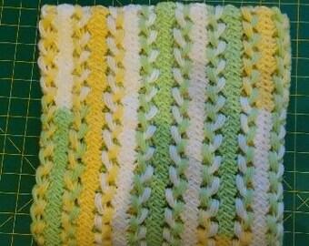Lemon-Lime Hairpin Lace Crocheted Blanket