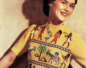 "Vintage 40's Knit PDF Pattern - ""Egyptian"" Fair Isle Sweater / 1940s - INSTANT DOWNLOAD"