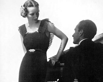 "Vintage 1930's Crochet ""Evening"" Dress - Crocheted Wedding Gown  - PDF Pattern- INSTANT DOWNLOAD"