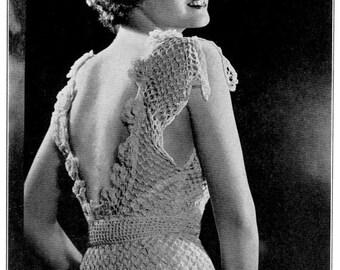 "Vintage 30's Crochet ""Evening"" Dress - Crocheted Wedding Gown  - PDF Pattern- INSTANT DOWNLOAD"