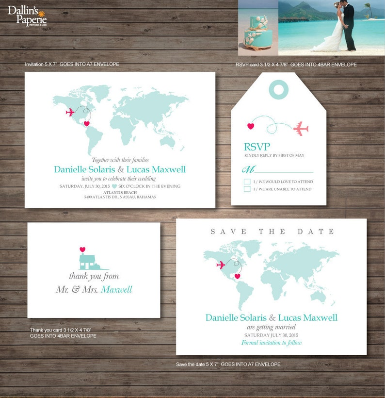 Destination Wedding Invitation Printables Beach Wedding Map Etsy