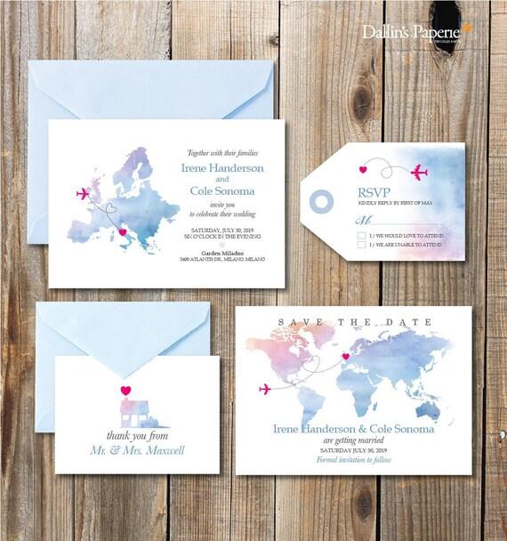 Europe Destination Wedding Invitation Printables Beach Etsy