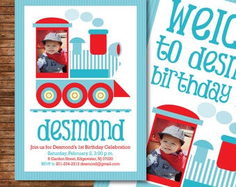 Train Birthday Party DIY Printable PHOTO Customized Full party set - Invitation and Deco - baby blue