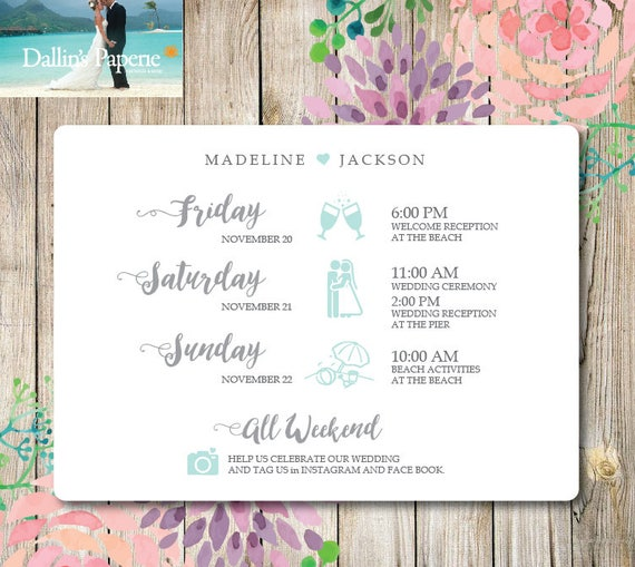 destination wedding timeline printable wedding itinerary etsy