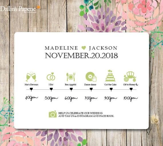 wedding timeline printable wedding program customized etsy