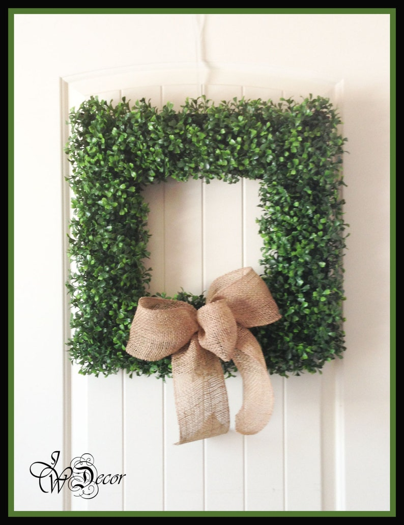 Front Door All Year Wreath  Boxwood Wreath  Square Boxwood image 0