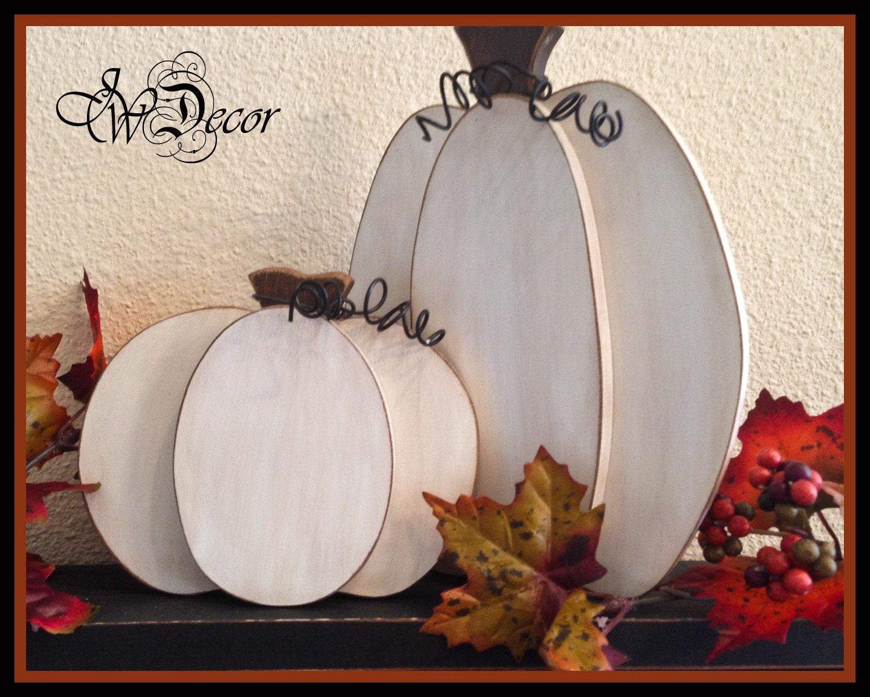 White Pumpkin Thanksgiving decor Wood Pumpkins Rustic Wood ...