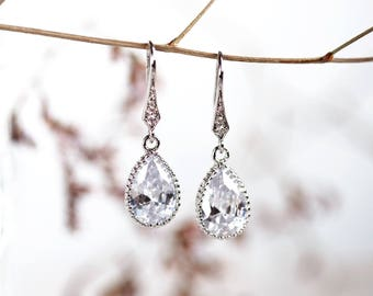 Bridal crystal drop earrings Wedding jewellery Silver crystal earrings  Wedding earrings Bridal earrings crystal Teardrop earrings 641 b40003dfe6
