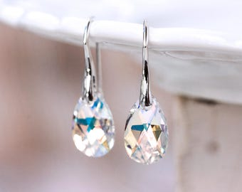 Bridesmaid gift earrings SWAROVSKI earrings Crystal earrings Gift for her  White earrings Gift silver earrings Teardrop earrings gift 769 670e3a7e5a