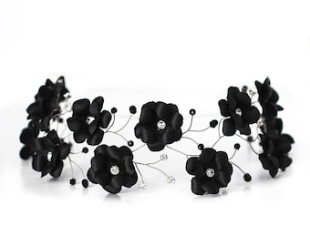4e74f93e9bc7a 54 Black flower crown Flower hair accessories Hair flowers Flower headband  Flower headpiece Flower hair band Floral hair piece Tiara.