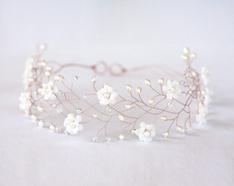 Rose gold hair accessories, Flower rose gold hair crown, Flower crown, Wedding hair accessories, Wedding crown, Bridal hair accessory 32
