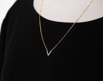 Chevron necklace V necklace Triangle necklace Geometric necklace Minimalist necklace V gold necklace Everyday necklace Dainty necklace 905.