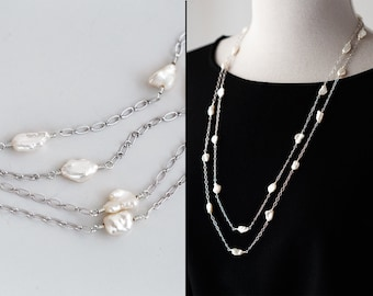 Long necklace Real pearls necklace Silver Layering necklace Multi strand necklace Long pearl necklace Freshwater pearl necklace 911.