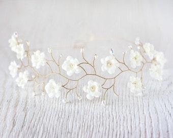 Bridal headpiece Flower headpiece Bridal flower crown Wedding tiara Bridal headpiece Wedding flower crown Pearl Headpiece Ivory flowers 51