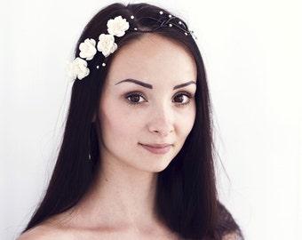 75 Flower crown Ivory hair accessories, Wedding hair crown, Bridal flower crown, Wedding hair accessory, White flower crown, Rustic wedding