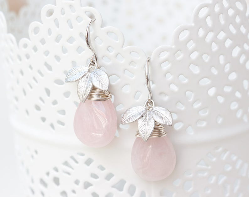 6101be6b2 Rose quartz earrings Pink teardrop earrings Silver leaves | Etsy