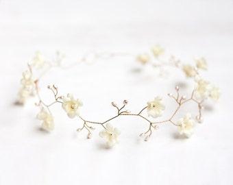 Ivory wedding crown, Pearl hair accessories, Ivory floral crown, Gold crown, Bridal crown, Flower crown, Crown flowers, Tiara wedding 52