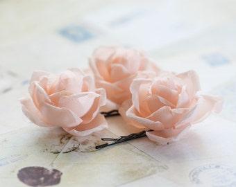 712 Hair accessories flowers, Hair pins roses, Flower hair accessories, Wedding hair pins, Bridal hair clips, Flower barrettes, Champagne