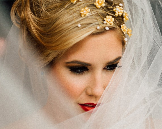 Braut Krone Tiara Blumen Haarreif Braut Hochzeit Krone Gold Etsy