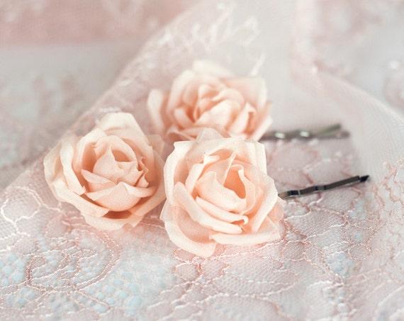 71 Hair Flower Peach Bridal Hair Flower Pin Silk Hair Flower Etsy