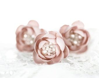 715_Pink flower hair pin, Blush wedding hair accessory, Small hair flowers, Bridesmaid hair pin, Bridesmaid hairpiece, Wedding hair pin Hair