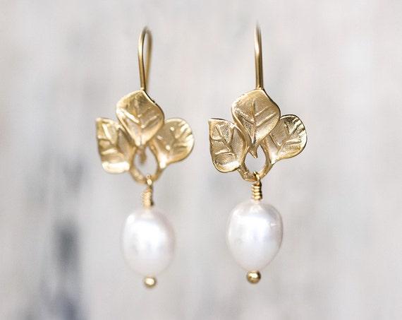 634 Elfenbein Perlenohrringe Gold Hochzeit Schmuck Blätter Ohrringe Hochzeit Ohrringe Braut Verlässt Ohrringe Ohrringe Geschenk Für Sie