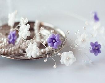 51 White crown, Lavender crown, Flower crown, Hair accessories, Bridal crown, Floral crown, Wedding hair piece, Headband, Silver crown