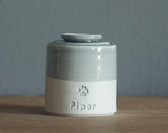 Lidded straight urn. your choice of size, clay, glaze, text, and stamp options. urn for ashes or pet urn.