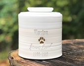Custom pet urn, L-W shown, larger sizes. pet urn, personalized urn for ashes. Matte White glaze / porcelain. gold upgrade shown.