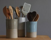 One utensil holder or vase in your choice of clay and glaze color. Modern handmade pottery utensil holder by vitrifiedstudio